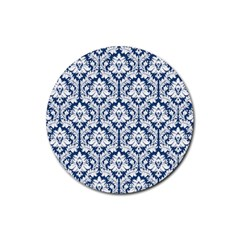 White On Blue Damask Drink Coasters 4 Pack (Round)