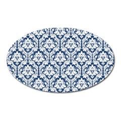 White On Blue Damask Magnet (Oval)
