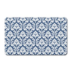 White On Blue Damask Magnet (Rectangular)
