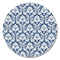 White On Blue Damask Magnet 5  (round)