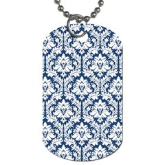 White On Blue Damask Dog Tag (Two-sided)