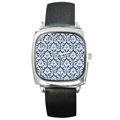 White On Blue Damask Square Leather Watch