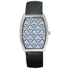 White On Blue Damask Tonneau Leather Watch