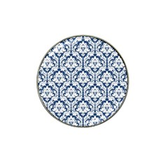 White On Blue Damask Golf Ball Marker (for Hat Clip)