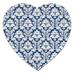 White On Blue Damask Jigsaw Puzzle (heart)