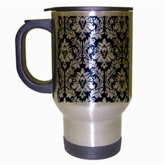 White On Blue Damask Travel Mug (Silver Gray)