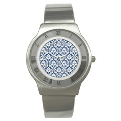 White On Blue Damask Stainless Steel Watch (slim)