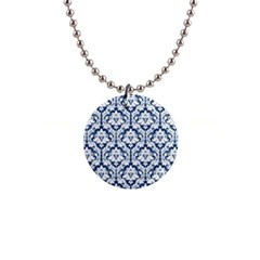White On Blue Damask Button Necklace