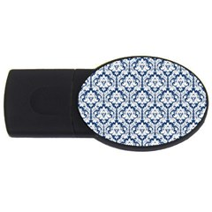 White On Blue Damask 4gb Usb Flash Drive (oval)
