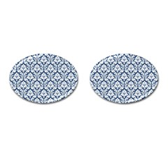 White On Blue Damask Cufflinks (oval)