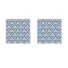 White On Blue Damask Cufflinks (Square)