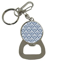White On Blue Damask Bottle Opener Key Chain