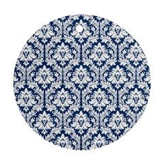 White On Blue Damask Round Ornament (two Sides)