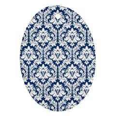 White On Blue Damask Oval Ornament (Two Sides)