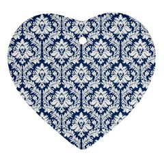 White On Blue Damask Heart Ornament (Two Sides)