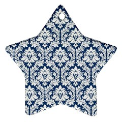 White On Blue Damask Star Ornament (Two Sides)