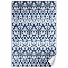 White On Blue Damask Canvas 12  x 18  (Unframed)