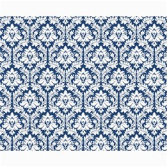 White On Blue Damask Canvas 16  x 20  (Unframed)