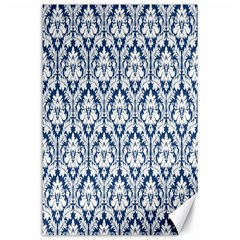 White On Blue Damask Canvas 24  X 36  (unframed)