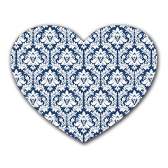 White On Blue Damask Mouse Pad (Heart)