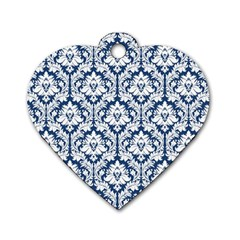 White On Blue Damask Dog Tag Heart (one Sided)
