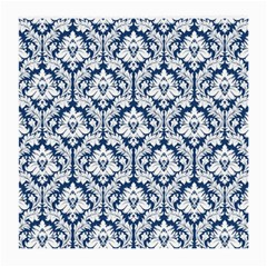 White On Blue Damask Glasses Cloth (Medium, Two Sided)