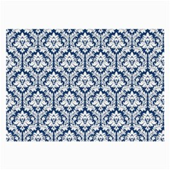 White On Blue Damask Glasses Cloth (large, Two Sided)