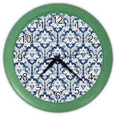 White On Blue Damask Wall Clock (color)
