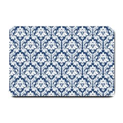 White On Blue Damask Small Door Mat