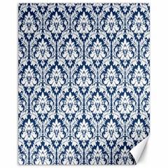 White On Blue Damask Canvas 11  X 14  (unframed)