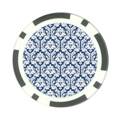 White On Blue Damask Poker Chip