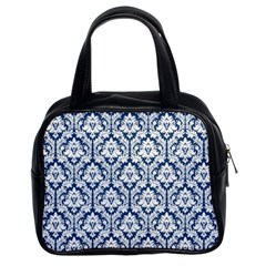 Navy Blue Damask Pattern Classic Handbag (two Sides)