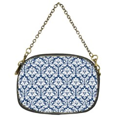 Navy Blue Damask Pattern Chain Purse (One Side)