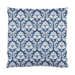 Navy Blue Damask Pattern Standard Cushion Case (Two Sides)