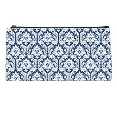 Navy Blue Damask Pattern Pencil Case