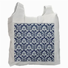 White On Blue Damask White Reusable Bag (Two Sides)