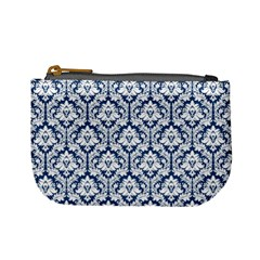 Navy Blue Damask Pattern Mini Coin Purse
