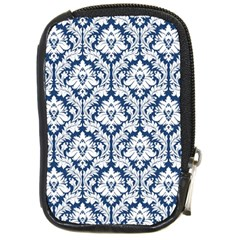 White On Blue Damask Compact Camera Leather Case