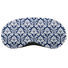 White On Blue Damask Sleeping Mask
