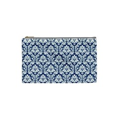 Navy Blue Damask Pattern Cosmetic Bag (Small)