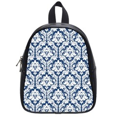 White On Blue Damask School Bag (small)