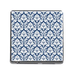 White On Blue Damask Memory Card Reader with Storage (Square)