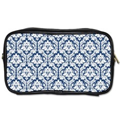 White On Blue Damask Travel Toiletry Bag (one Side)