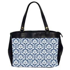 Navy Blue Damask Pattern Oversize Office Handbag (2 Sides)