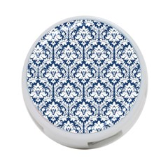 White On Blue Damask 4-Port USB Hub (One Side)