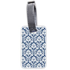 White On Blue Damask Luggage Tag (Two Sides)