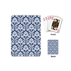 White On Blue Damask Playing Cards (Mini)