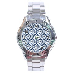 White On Blue Damask Stainless Steel Watch