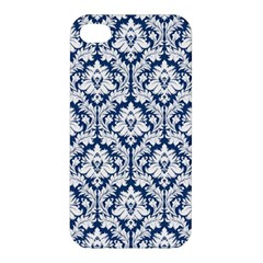 White On Blue Damask Apple iPhone 4/4S Hardshell Case