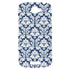 White On Blue Damask HTC One S Hardshell Case